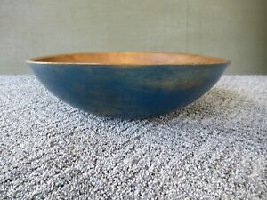 Antique Bowl Vintage Primitive Country 13 Round Dough Blue Paint Maple Wood