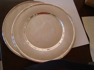 Antique 6 Sterling Silver Dinner Plates Chargers Trays 174 Troy Oz Or 12 Lbs