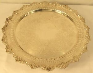 Sheffield Silver Plated Lazy Susan Pedestal Turntable Etched Pattern 16 25