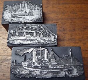 3 Wood And Metal Printer s Blocks With Different Steam Boats Top Condition