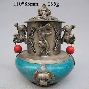 Tibetan Silver Buddha Statues Carved Incense Burner