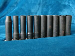 Snap on Tools 1 2 Drive Metric Deep impact Socket Set 10mm 19mm Very Clean