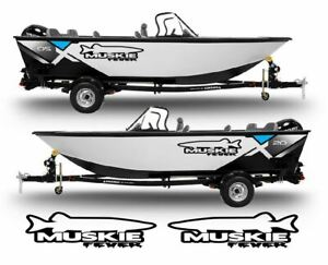Muskie Fever Decals Stickers Left Right Fish Rod Boat Lure Turbo Set Of 2