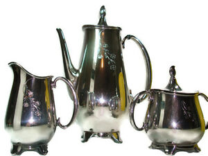 3 Pc Tea Set Rogers Brothers Springtime Silver Plated Silver Plate Silverplate