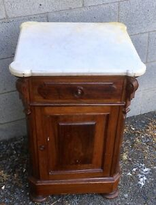 Victorian Walnut Marble Top 1 2 Commode