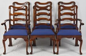 Set Of 6 Statton Old Towne Cherry Chippendale Ladderback Style Dining Chairs