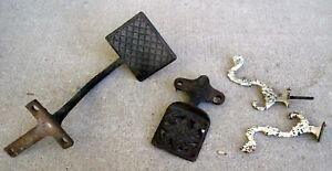 Pair Of Antique Cast Iron Buggy Sleigh Wagon Carriage Foot Step Up Plate Hooks