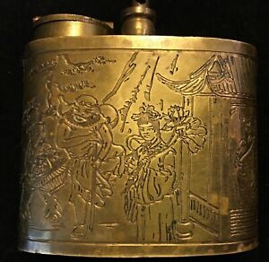 Vintage Brass Table Lighter Engraved Chinese Characters Missing Part