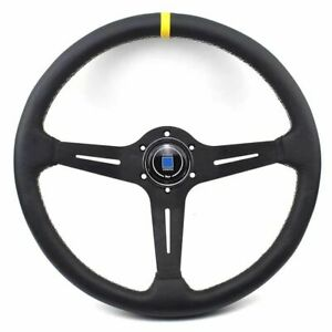 380mm 15 Inch Classic Nd Style Aluminum Leather Flat Drift Racing Steering Wheel