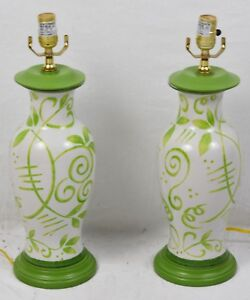 A Pair Of Hand Painted Italian Porcelain Floral Table Lamps