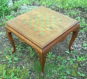 Antique Early 20th Century Anglo India Brass Inlaid Checkerboard Side Table