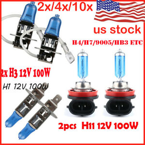 2 10x H1 H3 H7 H4 H11 Hb3 55w 100w Xenon White 6000k Halogen Bulbs Car Head Lamp