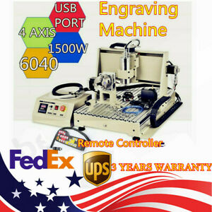 4 Axis 6040 Engraving Machine Usb 1 5kw Vfd Spindle Motor Carve And Handle Wheel