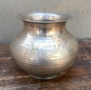 Pot Holy Water Vessel Vintage Brass Hand Carving Silver Plated Pot