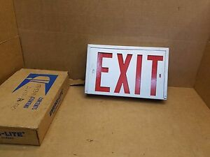 Emergi lite Exit Sign ax12r 120 All Metal With Red Lettering New Old Stock