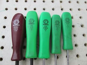 Lot Of 4 Matco Scg Green Handle Screw Drivers 1 Maroon Usa