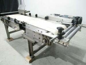 Flat Belt Conveyor 10 1 2 w x 46 In l W motor Hp 3 4 tested