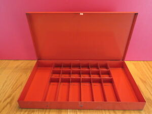 Vintage Automotive Small Parts Red Metal Box Divided Compartments Case 14x8x1 5
