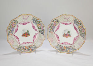 Two Antique Dresden Hand Painted Reticulated Cabinet Plates Pc