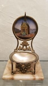 Antique French Grand Tour Style Pocket Watch Hutch Ring Jewelry M O P Stand