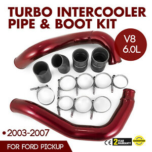 Turbo Intercooler Pipe Boot Kit Red For 03 07 Ford F350 6 0l Powerstroke Diesel