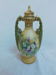 Antique Royal Vienna Urn Vase With Lid Hand Painted Floral Gilt