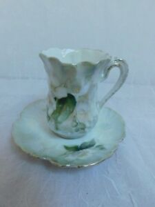 R S Germany Water Lily Demitasse Tea Cup Saucer Textured Vintage Antique