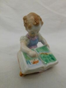 Herend Hungary Hand Painted Figurine Girl Reading Book