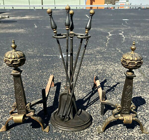 19th Century Antique Gilt Bronze Iron Andirons Matching Fireplace Tool Set
