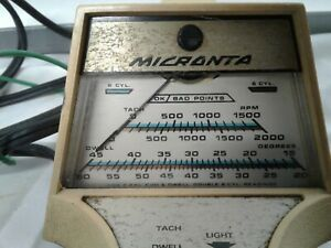 Micronta Vintage Meter 4 6 8 Cylinder Tach Dwell Points Timing Light Usa As Is