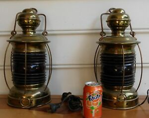 Pair Brass Ship Lanterns Lamps Both Are Working Have Red Lens