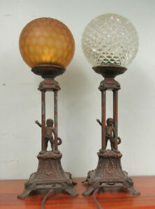 Pair Of Boudoir Lamps With Cherubs As Is 1 Golf Ball Shade