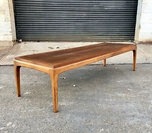 Mid Century Modern Lane Rhythm Surfboard Coffee Table Vintage Wood Walnut
