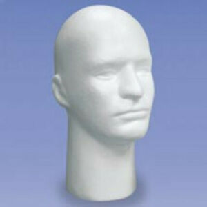 Styrofoam Display Head For Mens With White Finish 11 Inch H