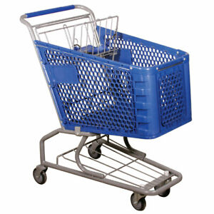 Grocery Blue Shopping Cart In Steel Polyethylene 21 To 15 5 W X 28 D X 18 5 H