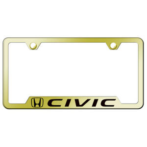 Honda Civic On Gold Cut out License Plate Frame Officially Licensed