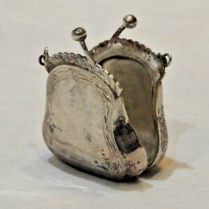 Antique Sterling Silver Miniature Change Purse Pill Box