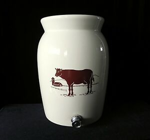 Miali Cow Water Crock Jug Dispenser Vintage Pottery