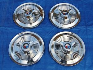 Original Set Of 1963 1964 Ford Galaxie 427 R Code 15 Spinner Hubcaps Wheelcover