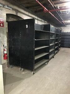 Black Double Sided Rolling Shelf Carts