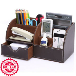 7 Storage Compartments Multifunctional Pu Leather Office Desk Organizer brown