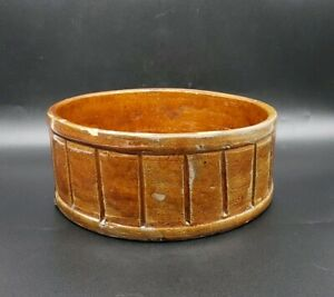 Antique Redware Short Crock With Incised Verticle Lines