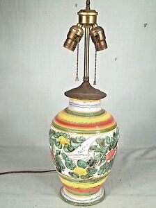 Colorful Vintage 1950 S Italian Majolica Olive Jar Double Socket Ceramic Lamp