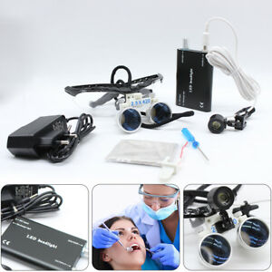 2 5x 420mm Pro Dental Surgical Loupes Optical Glass With Head Lamp Usa Sales