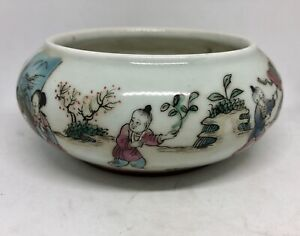 Chinese Antique Famille Rose Porcelain Brush Washer Tongzhi Marked 19th C Qing