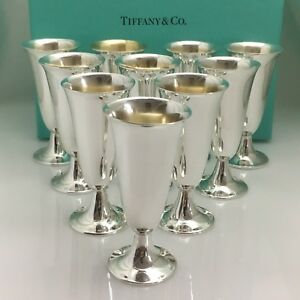 Tiffany Co Sterling Silver Cordial Liqueur Cups Shot Glasses Set Of 10