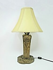 Art Nouveau Table Lamp W Rare Gilt Bronze Iris Base Hollywood Regency Boudoir