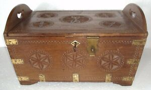 Old Indian Wooden Handcrafted Box Brass Fitted With Lock And Key