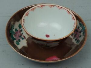 Antique 18c Chinese Export Cafe Au Lait Porcelain Tea Bowl Saucer 2 Pc