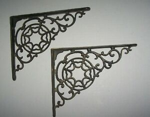 Vintage Cast Iron Ornate Rustic Shelf Braces Brackets Pair